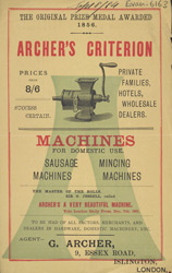 Advert For Archer's Mincing Machine